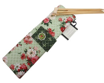 Light Green French Floral Straight Knitting Needle Case - Needle Organizer - Roll Up Needle Holder - Knitting Supply Case - Knitter Gift