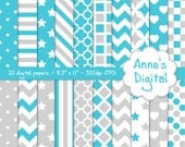 "Aqua and Light Gray Digital Papers - Matching Solids Included - 22 Papers - 8.5"" x 11"" - Instant Download - Commercial Use (256)"