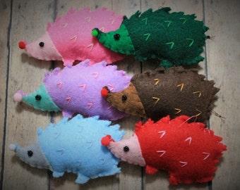 Hedgehog Ornaments-Felt colorful hedgehogs-Woodland animals-Kids room decor-Shower gifts-Christmas ornaments-Holiday ornaments-Felt critters
