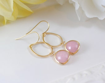 The Tori  Earrings - Pink/Gold