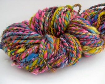 Handspun Yarn, Textured 2 Ply Art Yarn, Pink, Purple, Blue and Yellow