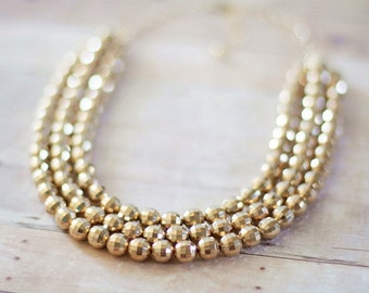 Gold Beaded Statement Necklace, Gold Bib Necklace, Multi Strand, Sparkly Gold Necklace, Holiday Necklace