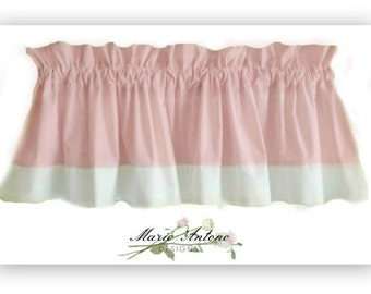 Girls Valance - Light Pink and White Valance  with a contrast  Border. Girl's room or Nursery decor!