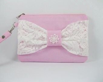 SUPER SALE - Light Pink with White Lace Bow Clutch - Bridal Clutches, Bridesmaid Wristlet, Wedding Gift - Made To Order
