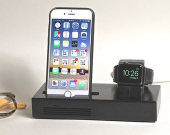 iPhone & Apple Watch Docking Station, the CONCERT Tandem dock in BLACK.