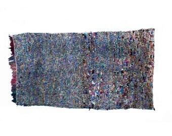 vintage moroccan rag rug 4' x 7'