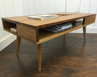 Thin Man mid century modern coffee table with storage