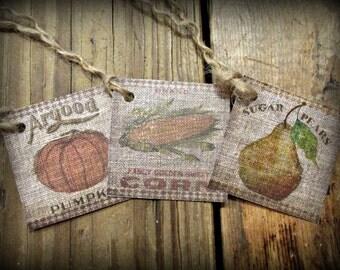 Primitive Vegetables Hang Tags