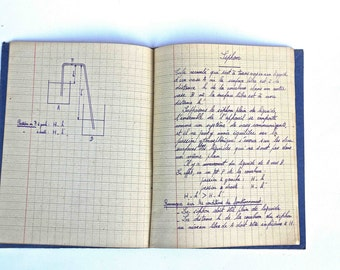 Old french school  notebook dated 1938-1939 (physic)