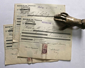 Set of 3 old french receipts.- 1936
