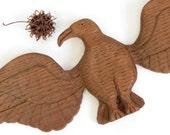 Vintage Hand Carved Wooden Eagle - Vintage Wooden Eagle - Wooden Wall Hanging Eagle - Vintage Camp Decor - Vintage Eagle