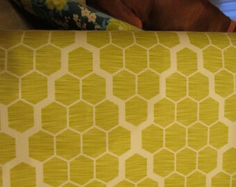 "Cotton Wide Backing 54"" wide Bungalow Hive in Grass designed by Joel Dewberry for Free Spirit 1 yard"