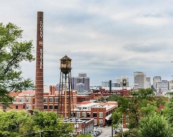Historic Lucky Strike Richmond Virginia VA Brick Skyline Cityscape Urban Color Landmark City American Photographic  Print