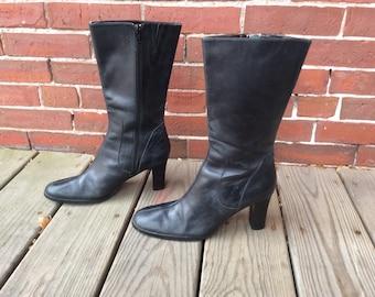 90s leather pointy toe riding boots sz 7 black leather bandolino
