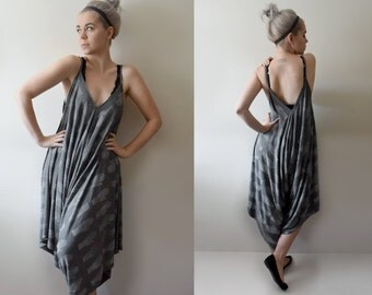 Hand Printed Jersey Oversized Wide Leg Jumpsuit - 'Tarot' print - Charcoal Grey