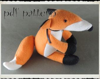 Fox E-PATTERN, Downloadable PDF, e- Pattern and instructions for fleece fox softie