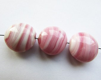 Soft Pink White Glass Beads Lentil Coin Glass beads Lampwork Beads 18 mm Glass beads 4 pcs.