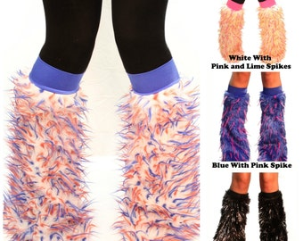 TrYptiX Spiked Rave Fluffies - Monster Fluffy Leg Warmers - Spiked Furry Boot Covers Rave Fluffies