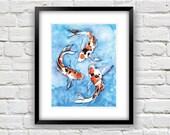 Koi Fish Watercolor - Koi Fish Painting - 8x10 Art Print - Fish Art Print - Koi Watercolor Print