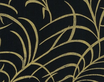 Timeless Treasures Fabric Large Enchanted Plume Gold Metallic On Black Cotton Quilting Sewing