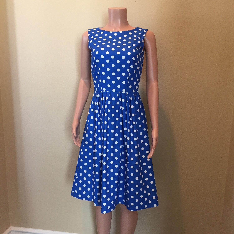 royal blue polka dot career dress. Black Bedroom Furniture Sets. Home Design Ideas