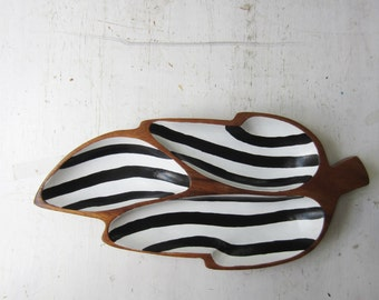 Vintage Divided Leaf Shaped Wood Dish with Hand Painted Black and White Stripes - Vintage Modern Home Decor