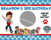 Paw Patrol Birthday Party Favor Scratch off Lotto Game Cards