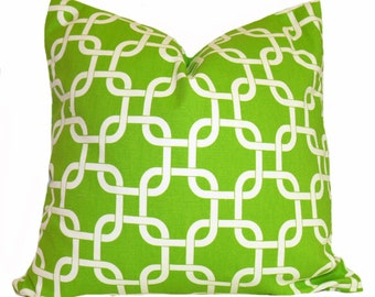 PILLOW and SHAM Cover - Pillow Cover King Queen Euro Reg. 12 16 18 20 24 26  Decorative Throw Pillow Gotch Chartreuse Green and White