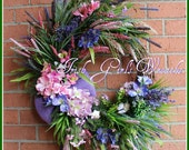 Coastal Sunset at the Cliffs of Mohr Wreath, Large Pink and Purple Spring Beach Wreath, Rustic Summer, shell