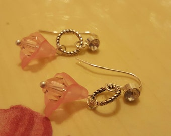 Stylsh Clear Rhinestone Sterling Silver Pierced Earrings with Pink Frosted Lucite Bell Flower with a Pink Swarovski Crystal Center