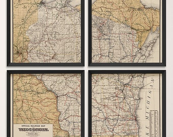 Old Wisconsin Map Art Print 1900 Antique Map Archival Reproduction - Railroad Map - Set of 4 Prints