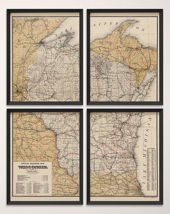 Old Wisconsin Map Art Print 1900 Antique Map Archival