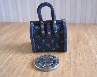 12th Scale Dollhouse  Ladies Carpet Bag / Holdall in Navy Blue Paisley