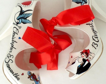 Wedding Shoes - Handpainted Customized - Blue Swallows and Anchor
