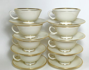 Lenox Cups & Saucers / 8 Vintage LENOX Mansfield Cups and Saucers Ivory w/Gold Rim