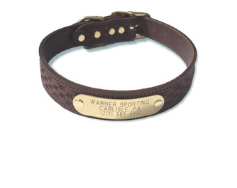 Warner Brand Basket Weave Brown Leather dog collar with Free brass Engraved ID TAG  USA