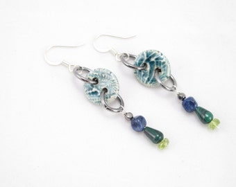 Earrings-Grubbi ceramic buttons-sodalite-malachite-peridot-dangles on surgical steel earring findings-green buttons-gift for her-OOAK-sewing