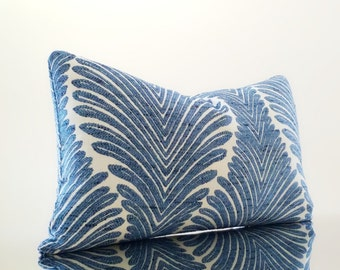 Beach House Decor - Lumbar Pillow - Cerulean Blue Embroidered Blue pillow - Select your size during checkout - Fabric both sides