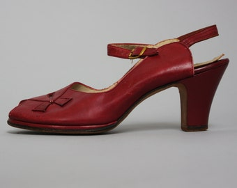 1940s RED PEEP TOE Heels   Vintage 40s 'Red Cross Shoes' Leather Ankle Strap Sandals   8 8.5 N