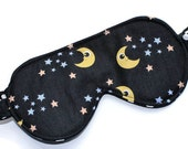 Woman's Travel Accessory, Sleep Mask, Eye Mask, Black, Polka Dots, Blindfold, Handmade in Canada, Moon, Stars, Mother's Day Gift, Kawaii