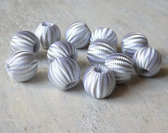 Silver fabric beads - 15 silver cord beads, 14mm silver beads, Christmas beads, festive beads, wedding decorations, geometric beads - 15