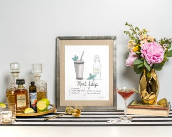 "Signature Drink Recipe Art Print 8x10"" - Mint Julep Art Print - Watercolor Print - Bar Art Print - Recipe Art Print"