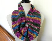 Fiesta hand crochet infinity scarf, multi-color crocheted cowl scarf #481, ready to ship