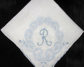 RESERVED for Jill 2R, L, D, Vintage Embroidered Handkerchief Wedding, FREE SHIPPING