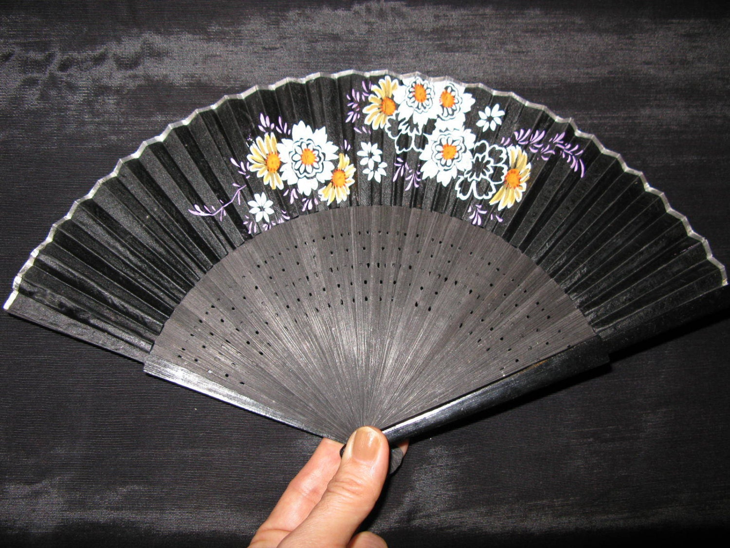 Hand Held Fans : Hand held fans painted folding fan antique