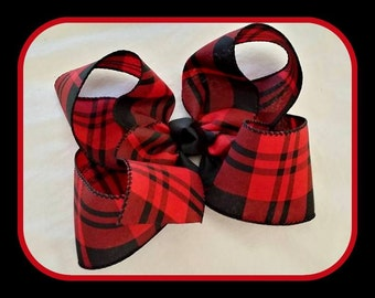 Red and Black Plaid Bow...Christmas Bow...Red Plaid Bow...Red and Black Hair Bow...Red and Black Bow...Plaid Hair Bow...Christmas Plaid Bow