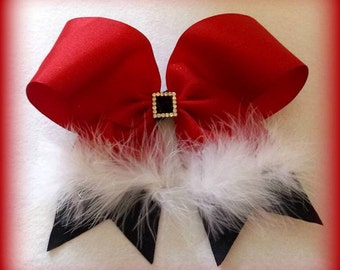 Santa Cheer Bow...Santa Hair Bow....Santa Bow....Christmas Cheer Bow...Red Cheer Bow