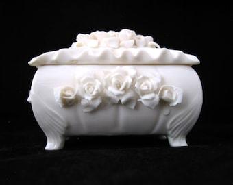 Lenwile Ardalt White Trinket Box with Roses Vintage 1940s