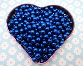 SALE--100pc 8mm royal blue Pearl beads,faux pearl beads,plastic beads