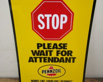 Pennzoil Tin Oil Lubrication Gas Station Attendant Advertising Sign